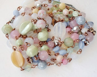 Pastel Color Long Necklace. Spring Jewelry Handmade. Layered Necklaces in Pink, Beige, Blue and White Opal. Colorful Gifts Multicolor Beads