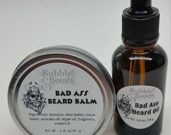 Bad Ass Beard Set, Buckaroo Beard Set, Nourishing Beard Oil, Conditioning Beard Balm, Mans Beard Set