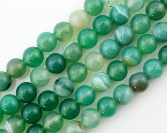 8mm Agate Beads Green Agate Beads Gemstone Beads Round Ball Beads ----about ---15inch --One Full Strand-NS104