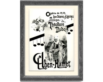Aben-Hamet, Theodore Dubois, Opera Leonce Detroyat, Lauzieres, Vintage French Poster Print 5-6, 1976, Large, 9 x 12