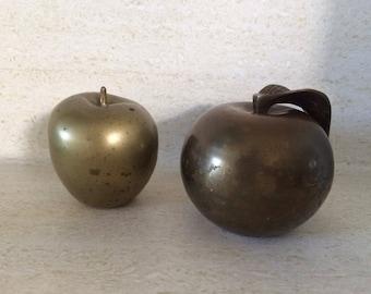 Brass Apple Paper Weight/Table Sculpture Pair
