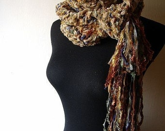 Tuscan Twilight Chenille Scarf in Blue Yellow Brown Burgundy