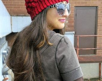 Red Beanie, Popcorn Stitch, Crochet Winter Hat Teen Girls Ladies