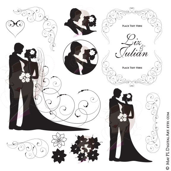 Wedding Silhouette Clipart Bride And Groom Illustration Jpeg