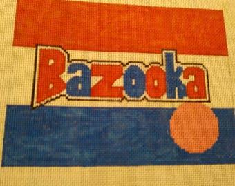 "Handpainted needlepoint canvas ""Bazooka Bubble Gum"""