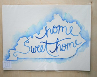 Home Sweet Home Blue Watercolor