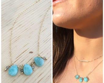 Delicate Amozanite necklace, simple amozanite necklace, delicate aqua blue stone necklace, gold and amozanite, delicate jewelry, 14k gold,