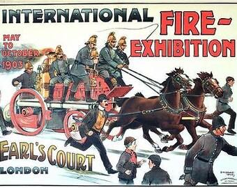 1903 International Fire Brigade Exhibition Earls Court London Poster A3 Print
