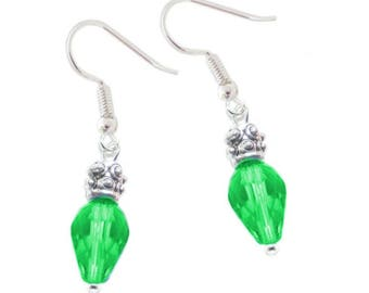 Green faceted bead Christmas earrings on hypoallergenic earwires