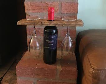 Rustic wine glass holder