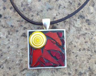 Red Sun Necklace/Mosaic Stained Glass Sun Pendant/Mosaic Stained Glass Necklace/Boho Chic/Boho Necklace/Gift for Her/Gifts under 40/P51