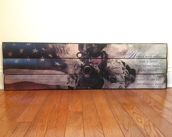 Military Gift, Gift for him, Gift for soldier, Deployment Gift, We the People Military Valor wooden wall decor