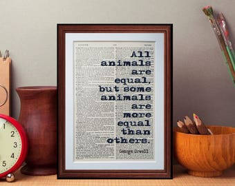 George Orwell - dictionary page literary art print home decor present gift books