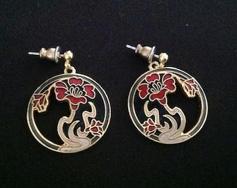Vintage Cloisonné Enamel Earrings. (Pierced). (Signed)