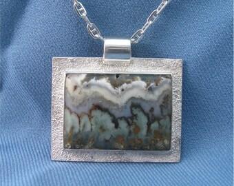 Prudent Man Agate & Silver Pendant
