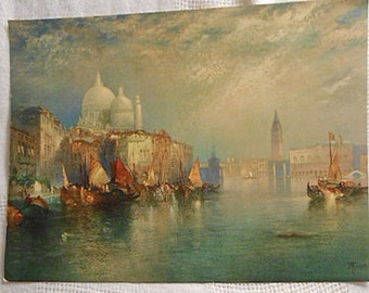 VENICE GRAND CANAL Litho Print to Frame Thomas Moran American Artist, 1903 Peaceful Vacation Waterscape Scene Boats Sails Tower Onion 9 x 12