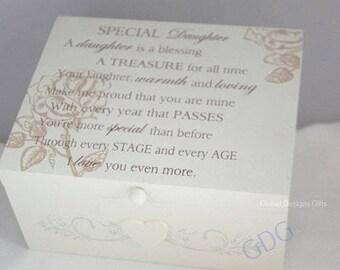 Special Daughter Memory Box Keepsakes Trinket Chest  Storage Box Cream Scroll Design  F1211A