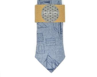 Blue boats tie - Wedding Mens Tie Skinny Necktie - Laid-Back necktie- navy sail tie