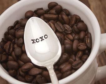 Hand Stamped Spoon - XOXO Coffee Tea Ice Cream - Hug and Kisses - Vintage Silver Plated Silverware  - Gift - Stocking stuffer - Secret Santa