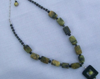 Green Turquoise, Blackstone and Sterling Silver Necklace