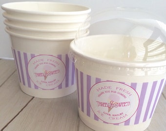 12oz Hot or Cold Ice Cream Paper Party Favor Cups with Clear Dome Lids and Sticker labels (12)- Ice Cream Party, Ice Cream Birthday