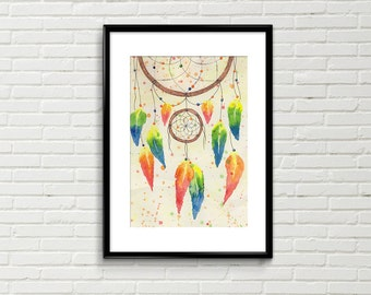 Original Dreamcatcher watercolour/watercolor/painting/illustration/dream/dreams/wall art/wall décor/feathers/boho/native american/home decor