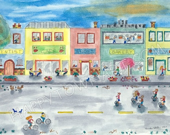 "Watercolor Print ""Happy Town II"" Giclee print"
