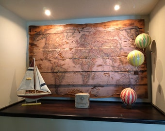 Rustic Wooden World Map