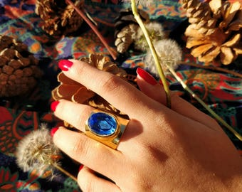 Royal Blue Crystal Ring - Majestic Statement Ring