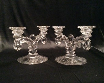 Clear crystal candelabra with silver overlay