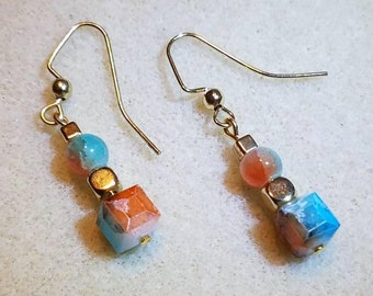Pale Orange and Turquoise Blue Earrings