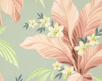 S Vintage Wallpaper Pink Tropical Leaves And Yellow Flowers On Green By The Yard