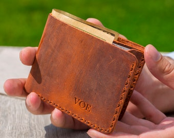 Personalized billfold wallet, mens leather wallet, leather wallet for men, mens wallet, minimalist wallet, distressed leather wallet,