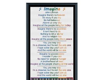 Imagine Lyrics - John Lennon Cross Stitch Pattern