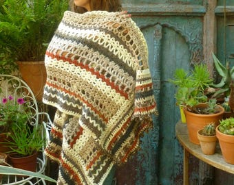 Country Bohemian Stole. Hand Crochet Fall-Winter Shawl. OOAK Design. Fall-Winter Accessories