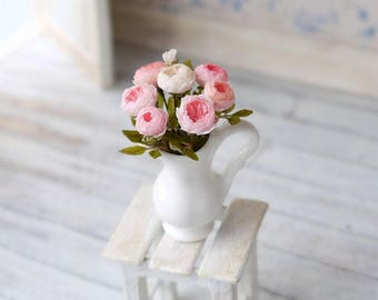 TO ORDER - Light pink english roses  1/12 scale, dollhouse decor, dollhouse flowers, dollhouse miniatures
