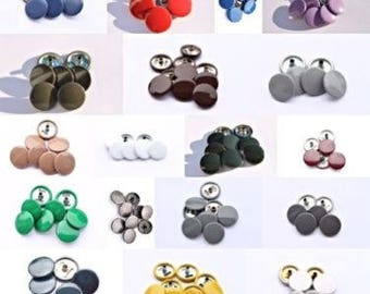 Press Studs - 10 Complete Sets of Size 15mm Press Studs Snap Fastenings in Black And Other Colors