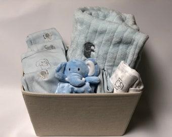 Elephant themed baby etsy baby boy elephant gift basket elephant themed baby boy gift corporatecoworker baby negle Image collections