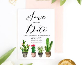 PRINTABLE Save the Date Announcement - Watercolour Cactus Save the Date - Boho Watercolour Succulents - Customizable to Any Event