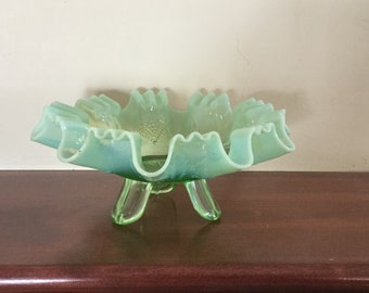 Vintage Green Glass Candy Dish,Opalescent Green