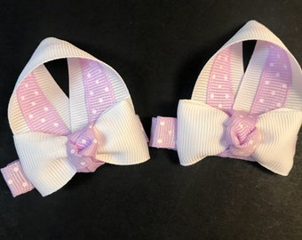 Mini Bunny ear clips. Set of 2. Available in any color. Alligator clip. Shown in light purple polka dots.
