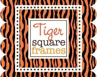 Digital Clip Art - Square Frames with Tiger Stripes