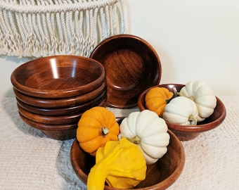 8 Wood Bowls / Set of Wood Bowls / Party Hosting / Dining Set