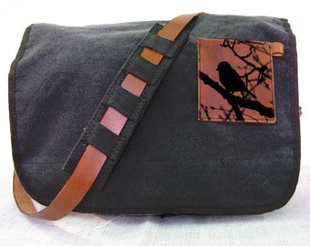black canvas messenger bag with leather accents - bird bag