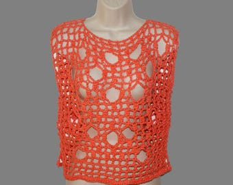 Orange Cotton Shirt, Crochet Top, Plus Size Shirt, Dolman Top, Layered Look Tee, Ripped Tee, Grunge Top, Orange Mesh Tee, Plus Size Tunic