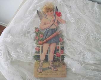 Large Vintage German 1930's Cupid Valentine Card Nordic Style, Shabby Decor, Scrap Booking