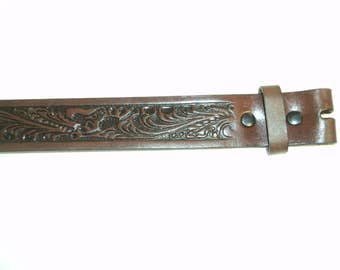 Tooled Leather Belt Strap