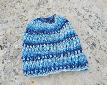 Hand Knit Hat - Navigator Hat - The Blue Stripey. Lightweight Handknit Hat in Durable Yarn. Men's Handknit Beanie. Fall and Winter Gear.