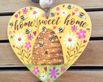 Home sweet home wooden heart hanger. Bees and bee hive illustrated heart gift. Original artwork. Hand painted bead. Gift wrapped and boxed.