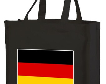 German Flag Cotton Shopping Bag with gusset and long handles, 3 colour options